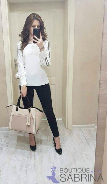 Бяла официална блуза с изрязани ръкави